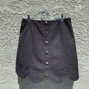 Lauren Conrad Suede Scalloped Mini Skirt
